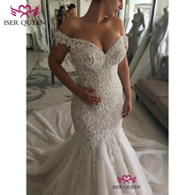 Cap Sleeves Pearls Embroidery Wedding Dress 2020 New Button Back Design Bridal Gown Sexy Mermaid Wedding Dresses w0562