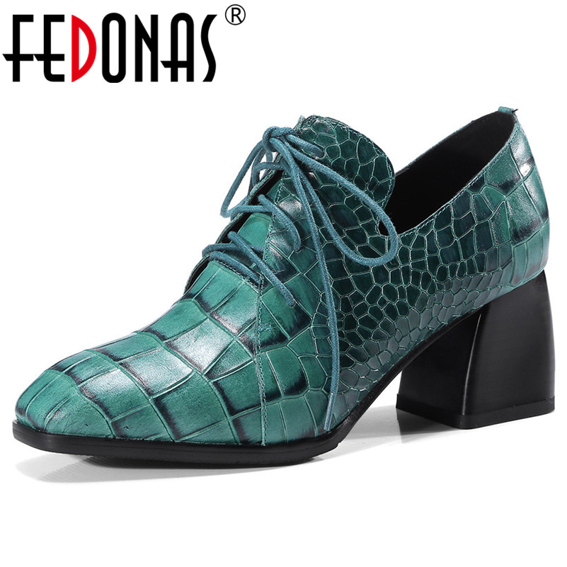 FEDONAS Sexy Women Genuine Leather Thick High Heels Corss tied Party Wedding Shoes Woman New Quality