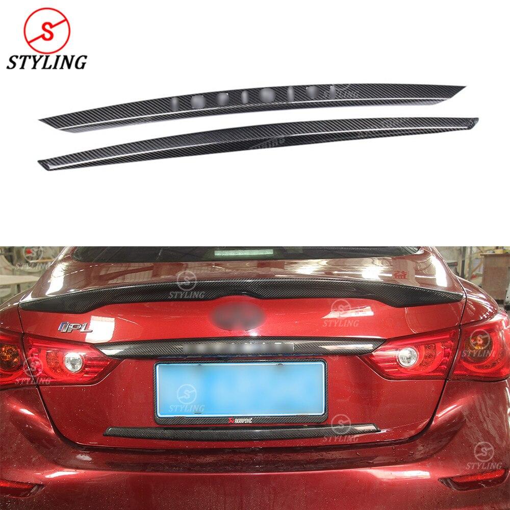 For Infiniti Q50 Carbon Rear Trunk Trim Cover Q50 Q50S dry Carbon Fiber Rear trunk wing trim cover with logo car styling 2014+ все цены