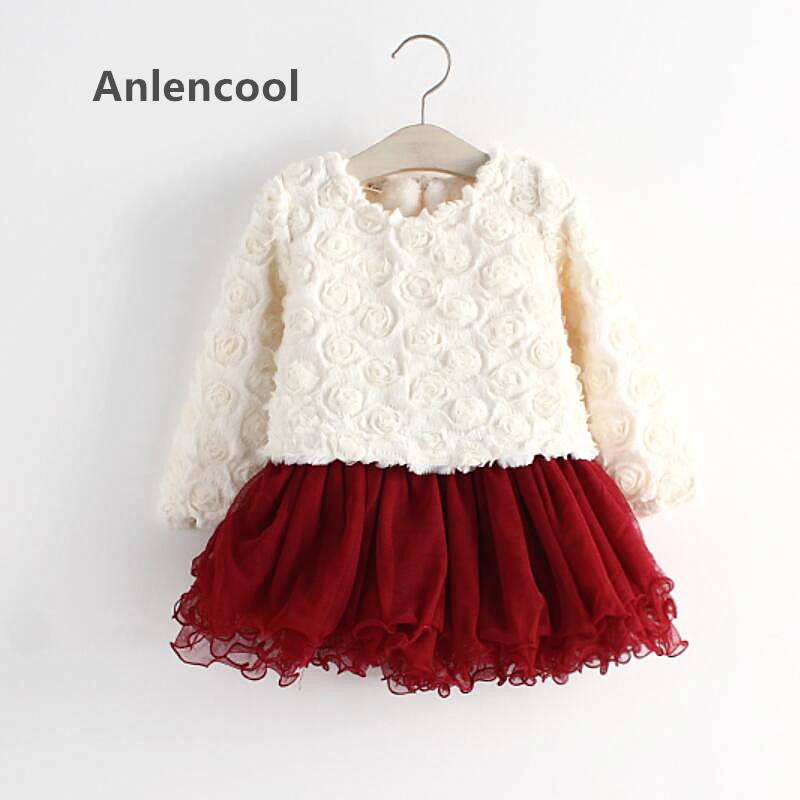 Anlencool 2018 Girl Dress Free Shipping Baby Winter Dress Rose Cotton Flax Korean Children's Clothing Female Children clothing anlencool free shipping girls winter coat korean models tong wavelet point edge flowers children s clothing wools baby jackets