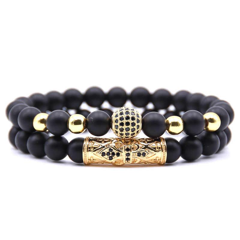 Jakość zestaw dla mężczyzn bransoletka moda męska Homme biżuteria 8MM naturalny kamień złoto srebro mikro-inkrustowane cyrkon CZ Ball bransoletki z koralików