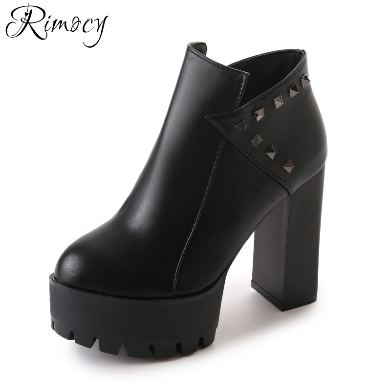 Rimocy platform ankle boots women 2017 autumn winter thick high heels rivet leather motorcycle boots woman fashion shoes booties