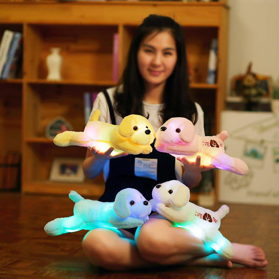 35cm luminous dog plush doll colorful LED glowing dogs with embroidery children toys for girl kidz birthday gift  YYT221 1pcs 22cm fluffy plush toys white eyebrows cute dog doll sucker pendant super soft dogs plush toy boy girl children gift