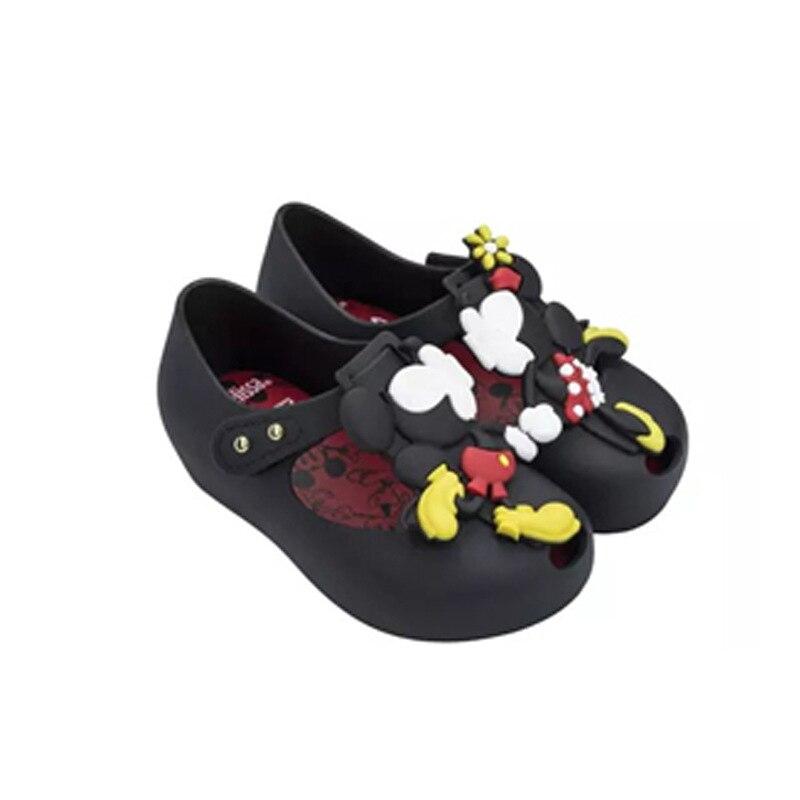 Mini melissa mickey minnie geléia sapatos brasil nova geléia sapatos meninas sapatos de cristal mini melissa bebê geléia sandálias não-deslizamento
