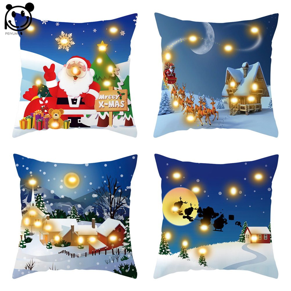 PEIYUAN Blue Cushion Cover Led Merry Christmas X-max Glow Throw Led Light Pillow Case Super Soft Pillow case Cushion Pillowcase