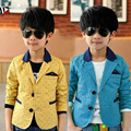 Spring boy blazer suit classic stars blue&yellow cotton blazer jacket for 4-14yrs boy male kid children causal suit clothes hot