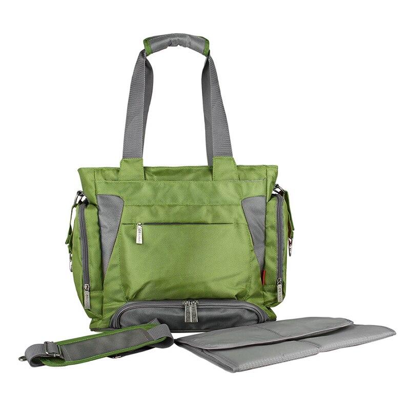 Bolsa de pañales para bebé mommore bolsa de pañales verde con almohadilla cambiante bolsas grandes para mamá bolsos de mano impermeable para cochecito de bebé - 2