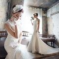 2016 New Arrival Mermaid vestido de noiva Vintage ruiva Cap Lace mangas vestidos de casamento longo Blackless vestido de noiva