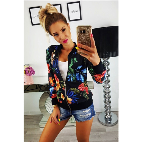 Autumn Women Ladies Bomber Jacket Baseball Coat Satin Floral Print Winter Zipper Tops Long Sleeve Outwear Clothes Cheapest Price From Our Site