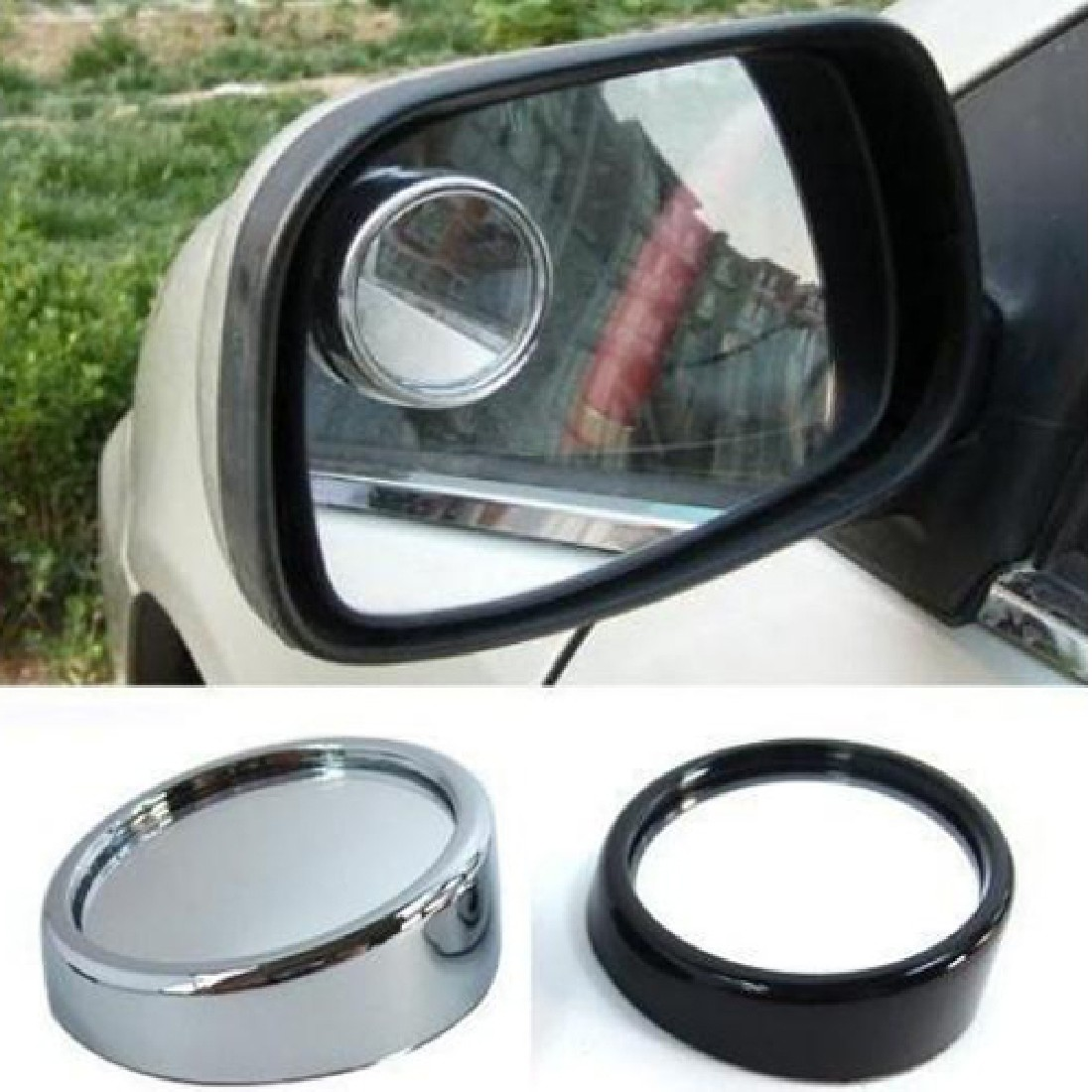 2Pcs Blind Spot Mini Small Round Rearview Mirror 360° Angle Stick-on Side Mirror