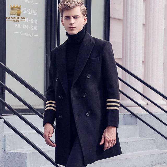 FanZhuan Бесплатная доставка Новая мода Для мужчин 2017 зимние мужские повседневные средней длины армейском стиле костюм воротником шерстяное пальто 710135 черный