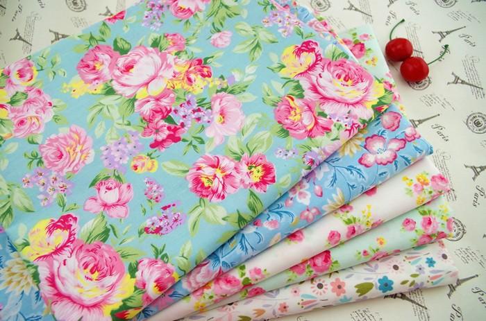 279a65964e Vintage Blue rose floral printed fabric cotton patchwork textile ...