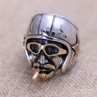 Black Silver Jewelry Wholesale 925 Sterling Silver Vintage Silver Head Uncle Mens Ring Xh053535w