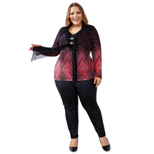 Vintage Plus Size Flare Sleeve Top with Diamonds Decoration