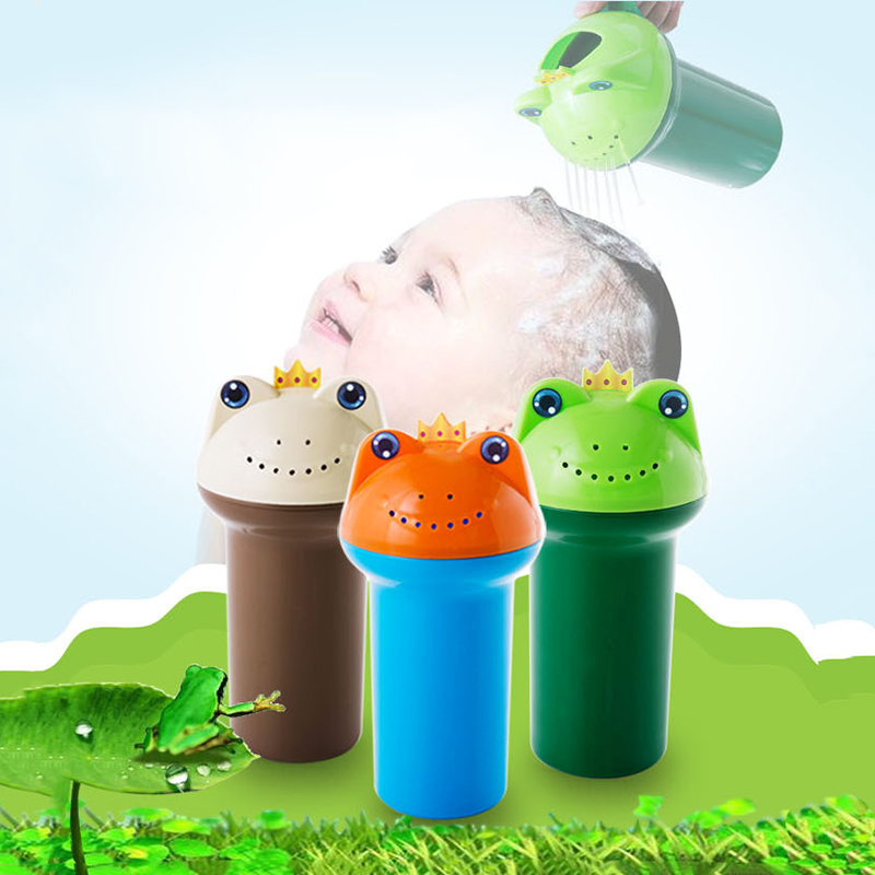 Cute Frog Wash Hair Cup Plastic Thickening Baby Head Washing Shampoo Cup Infant Shower Water Toy for Kid Bath Wash Head Scoops plastic
