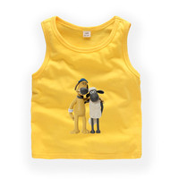 2T 9T Shaun the Sheep child Sleeveless T shirt Kids Baby Summer Cute Clothes Boys Girls T shirt b07