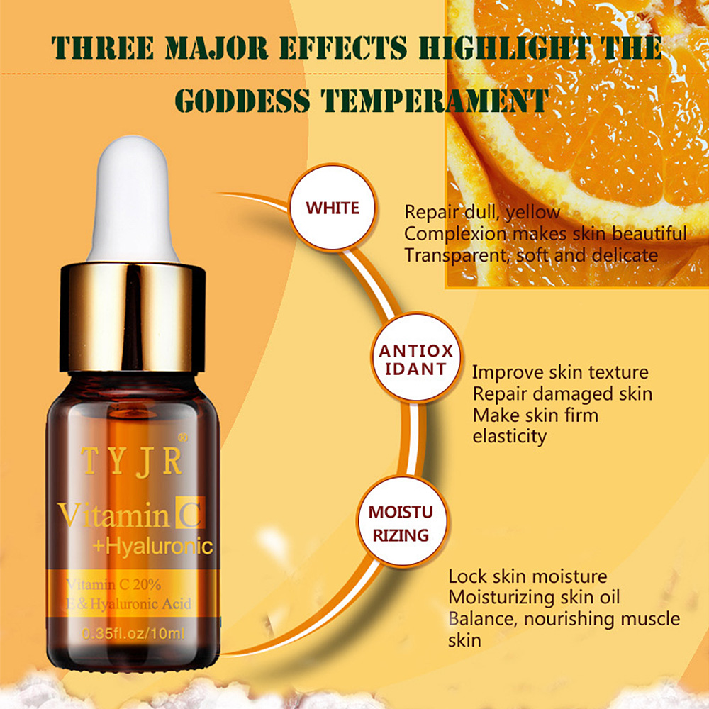 TYJR Pure Vitamin C Serum Liquid Freckle Removal Acne Scars Hyaluronic Acid Anti-wrinkle Vc Face Serum Fade Dark Circles