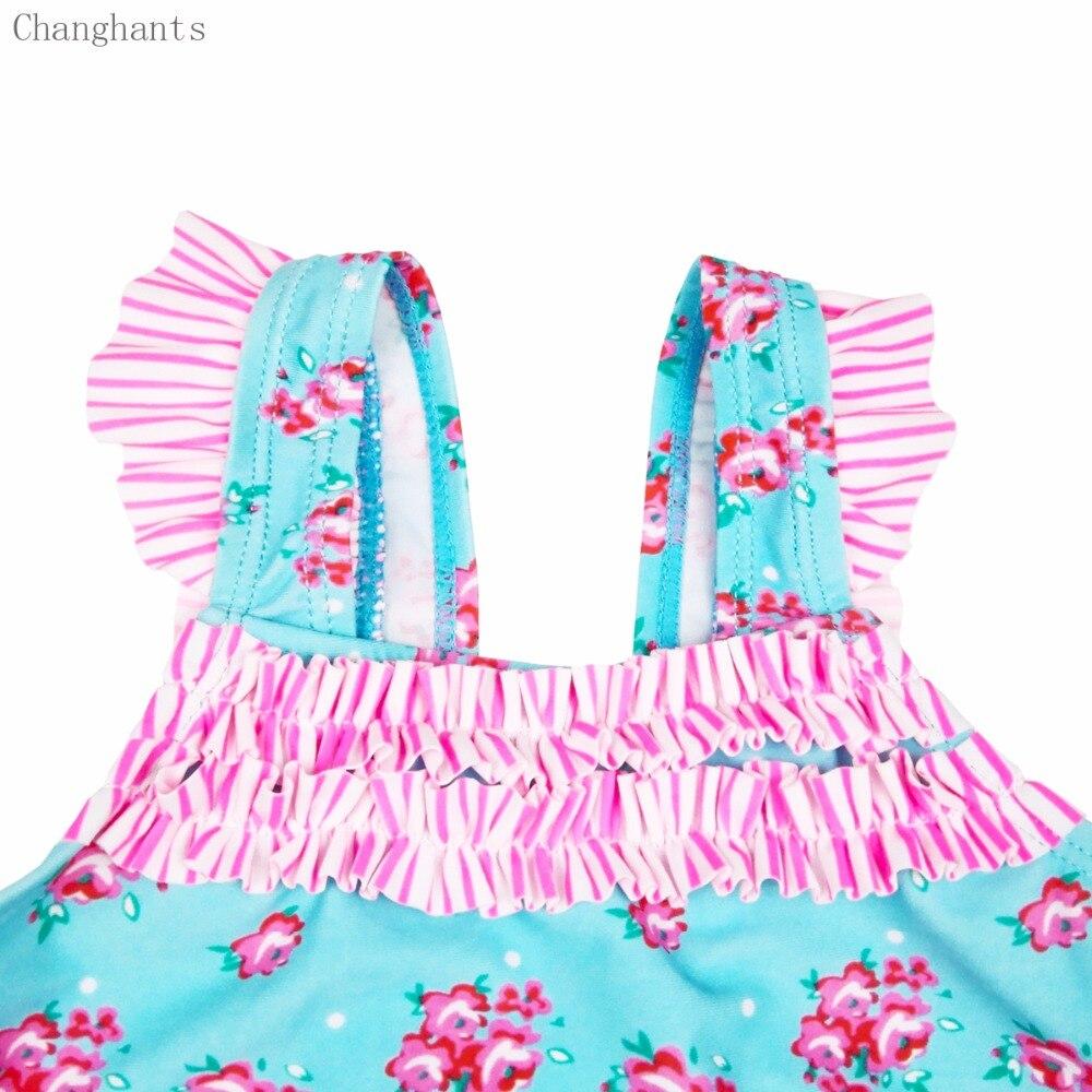 Dziewczęce stroje kąpielowe Jasnoniebieski z różowym kwiatowym - Ubrania sportowe i akcesoria - Zdjęcie 3