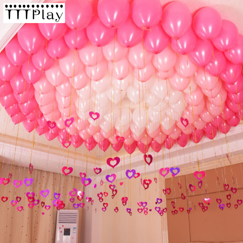 100pcs/lot Bling Shiny Heart Paperboard Cards Balloons
