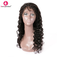 Peruvian Deep Wave Wigs For Women 150% Density 360 Lace Frontal Pre Plucked Wigs With Baby Hair Bleached Knots Remy Hair Black