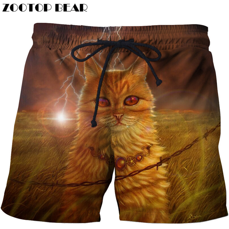 Cat Printed Beach Shorts Men Pants 3d Fashion Shorts Plage Funny Animal Shorts Quick Dry Pant Board Shorts Swimwear Drop Ship