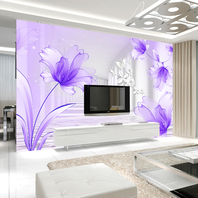 Custom mural wallpaper purple lily flower stereoscopic for Custom mural painting