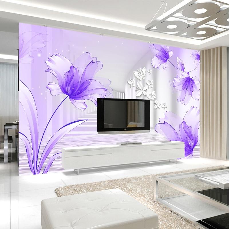 Custom mural wallpaper purple lily flower stereoscopic for Custom mural painting