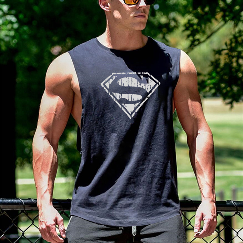 Superman Men's Cut Out Sleeveless shirt Gyms Stringer Vest Workout shirt Muscle Tees Bodybuilding   Tank     Top   Fitness Clothing
