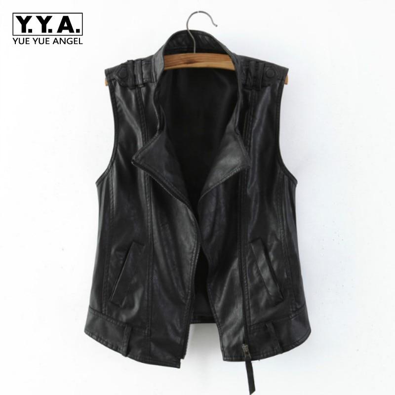 Couleur noire nouveau Slim Fit Faux cuir Veste Femme Colete Feminino Veste Femme moto Biker Veste Zipper Jaqueta De Couro