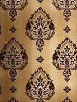 VIntage Golden Italian Velvet Flock Textile Wallcovering Noise Insulation Papel De Parede