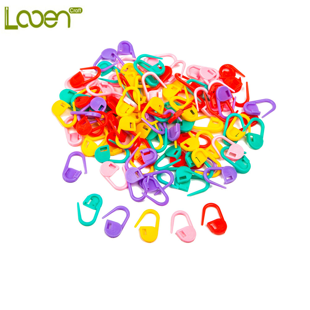 Looen Brand 100pcs/lot High Quality Mix Color Mini Knitting Holder Needle Clip Craft Crochet Locking Stitch Plastic Markers Hook
