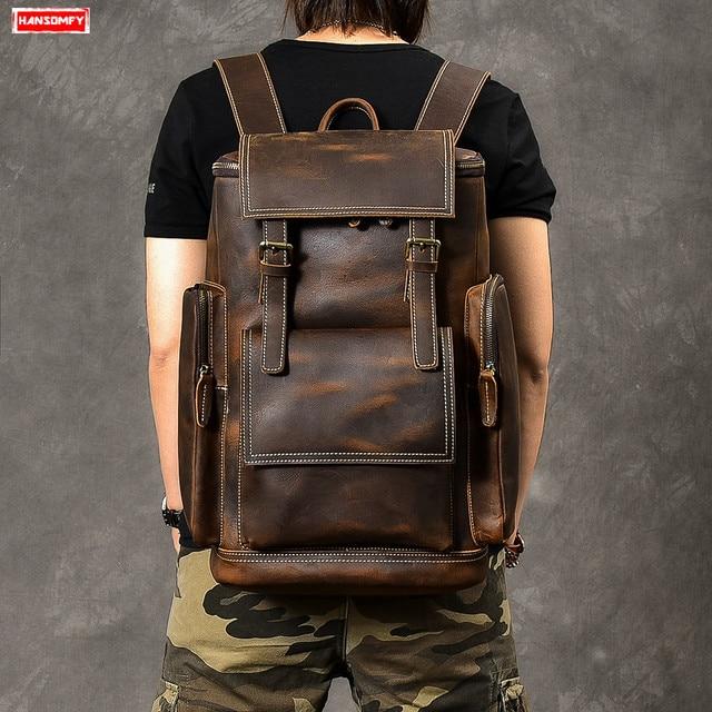 レトロ本革男性のバックパック大容量のラップトップバッグ学校のバックパック男性ショルダーバッグ茶色の革旅行バックパック