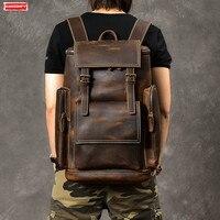 Retro Genuine Leather Men's Backpack Large Capacity laptop bag school backpack male shoulder bags Brown leather Travel Backpacks