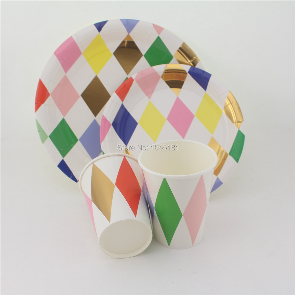 Harlequin Large/Small Round Paper Plates and 9oz Paper Cups Disposable Tableware Party Set for Kids Birthday Bridal Shower