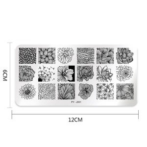 Image 2 - PICT YOU Nail Stamping Plates 직사각형 모양의 꽃 시리즈 스테인레스 스틸 네일 아트 이미지 플레이트 스텐실 도구 J001