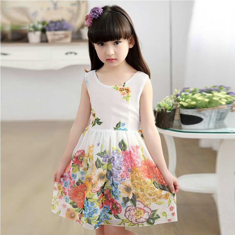2017 summer Sleeveless baby Party Birthday girls kids Children Sundress 4 6 8 10 12 14 Y floral dresses princess infant Dress baby girls infant wedding party bowknot sleeveless ruffled vest dress sundress