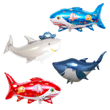 blue/gold baby shark birthday party Big balloons Decoration ocean Balloon shower octopus shell Inflatable Ball