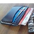 Handwork Top Quality Breif Men Wallet Retro Genuine Leather Minimalist Wallet for Men Vegetable Tanned Leather Wallet cardholder