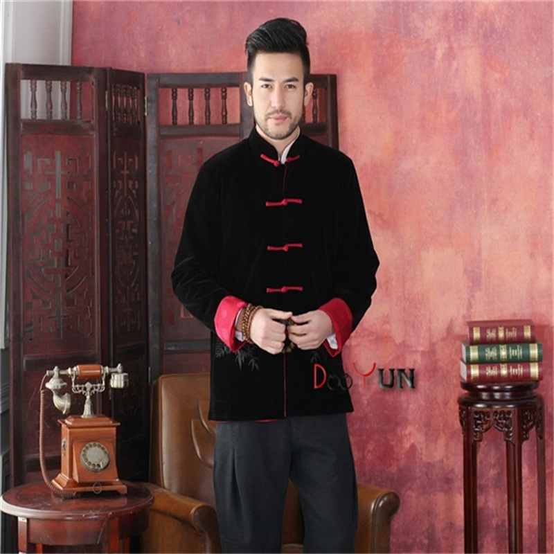 High Quality Black Red Men's Long sleeve Two-Face Jacket Kung Fu Coat Velour Tang Suit Size S M L XL XXL XXXL Free Shipping free shipping high quality relaxed multi layered red straight long wigs