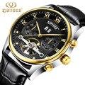KINYUED известный бренд Tourbillon часы мужские кожаные модные автоматические механические мужские s наручные часы водонепроницаемые Relojes Hombre