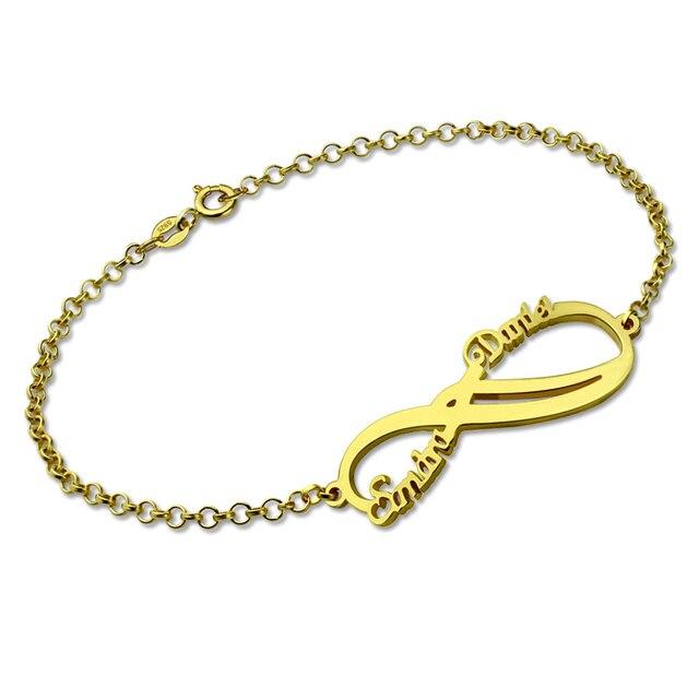 14b3a93efc58 Pulsera AILIN Infinity Color oro plata personalizada nombre pulsera infinito  2 nombres par pulsera mejor amigo