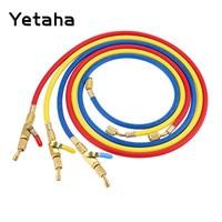 Yetaha 3Pcs 1.5m 60 AC Charging Hoses 800PSI 1/4 SAE R410A R134A Shut Valve Air Conditioning Refrigerant Tools