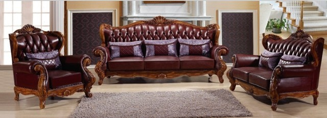 European style leather sofa,solid wood carving antique genuine ...