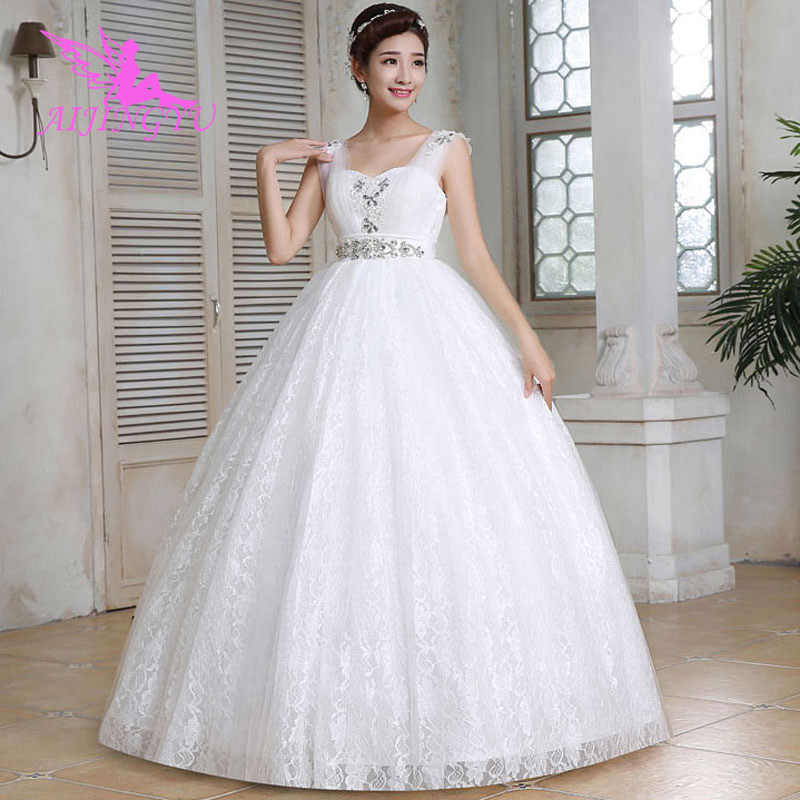 AIJINGYU 2018 Beautiful Free Shipping New Hot Selling Cheap Gown Lace Up Back Formal Bride Dresses Wedding Dress WU277