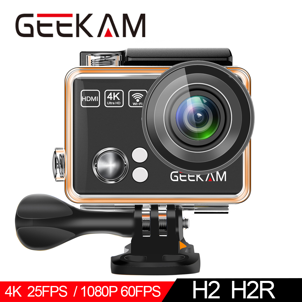 "GEEKAM Action Camera H2R/H2 Ultrathin HD 4K/25fps WiFi 2.0"" 170D Underwater Waterproof Bicycle Helmet Extreme Sports Video Cam-in Sports & Action Video Camera from Consumer Electronics"