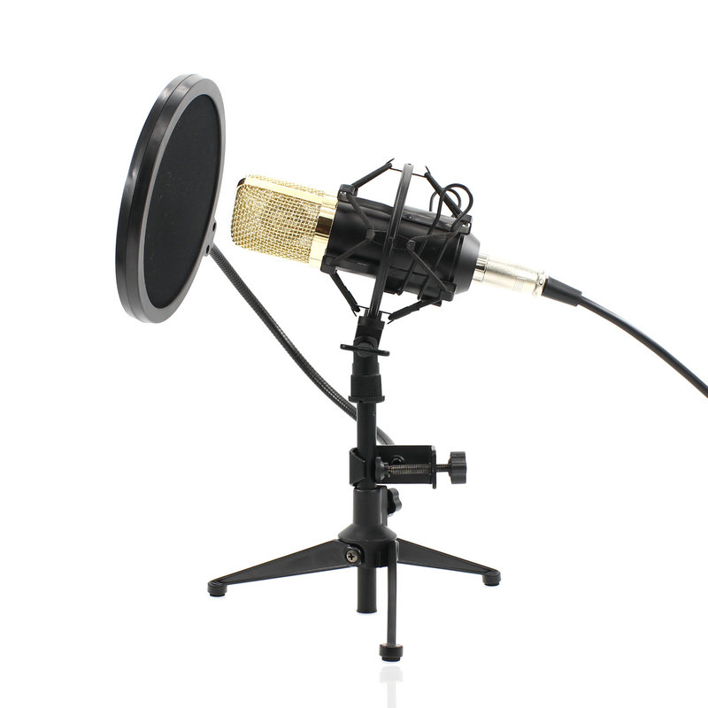 BM-700 Condenser KTV Microphone BM700 Cardioid Pro Audio Studio Vocal Recording Mic KTV Karaoke With Metal Tripod and Pop filte best quality yarmee multi functional condenser studio recording microphone xlr mic yr01