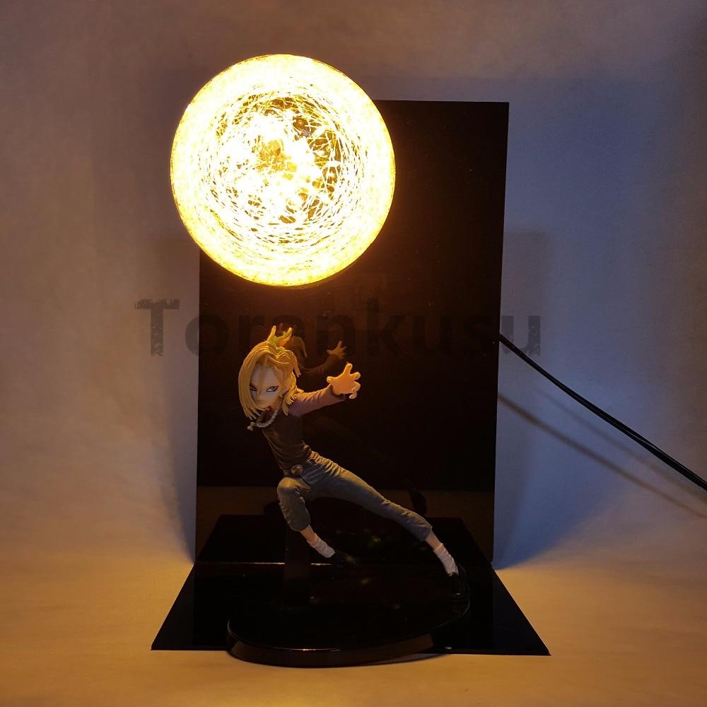 Dragon Ball Z Android 18 лазурь фигурки светодиодные аниме Dragon Ball Супер DBZ Сон Гоку лазурь настольная лампа кукла подарок