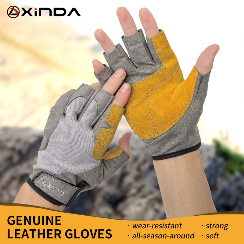 XINDA Professional Outdoor Sports Half Finger Cowhide Climbing Gloves Rock Climb Downhill Hiking Anti Slip Wear Resistant Gloves