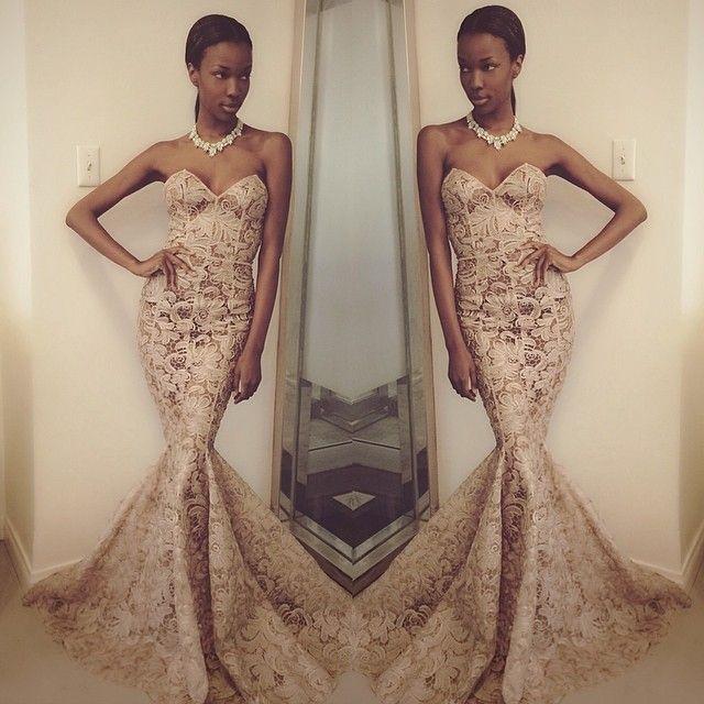 African Fashion Evening Dress Sweetheart Sleeveless Mermaid