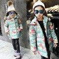 Adolescente Niñas Parkas Abrigo de Invierno Floral Niños prendas de Vestir Exteriores del Otoño Abrigo de Piel Con Capucha Gruesa Ropa de los Bebés Niños Abrigos C065